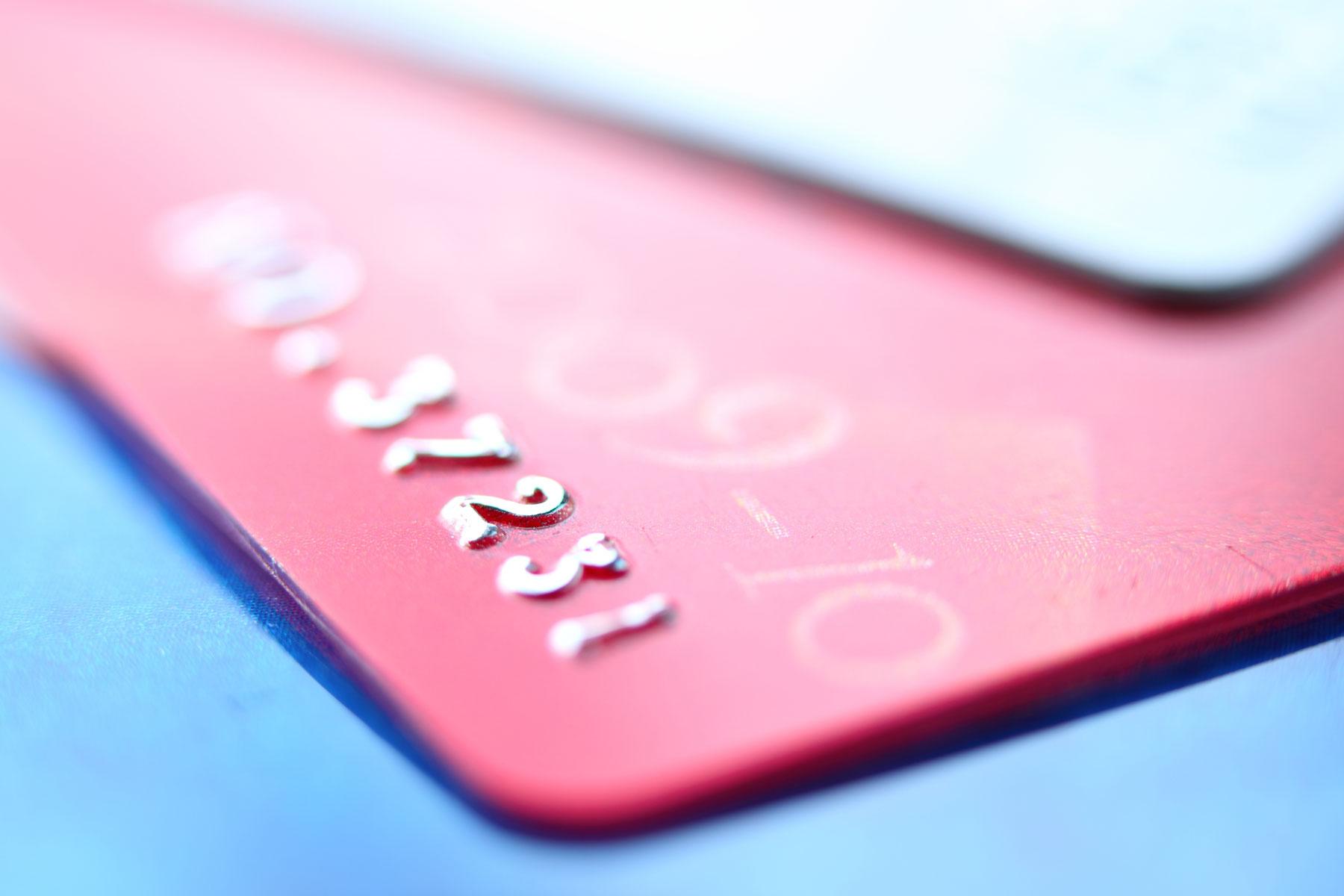 closeup of debit card