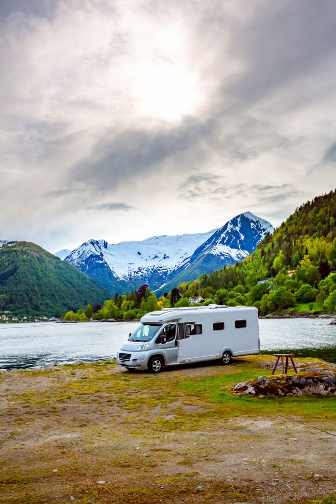 recreational vehicle camping in mountains